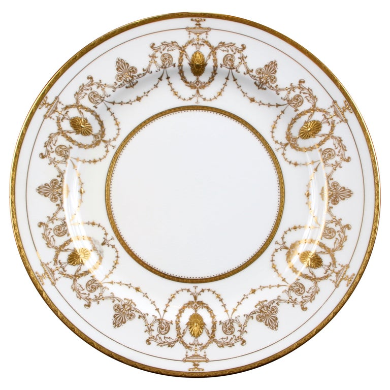 13 Minton for Tiffany Adam-Style Gold Encrusted Plates For Sale