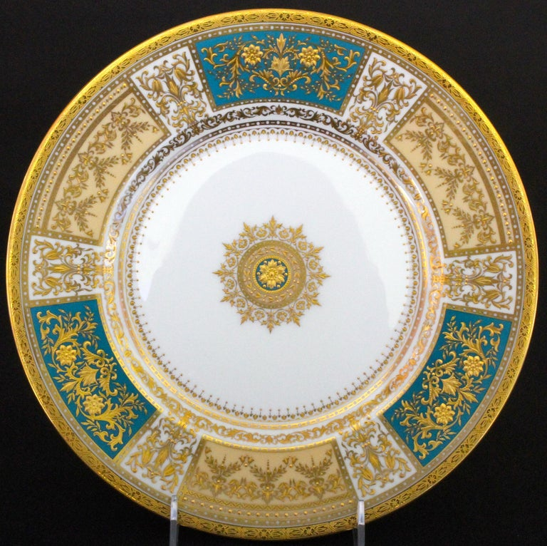 English 13 Minton for Tiffany Master-Gilder Turquoise Plates For Sale
