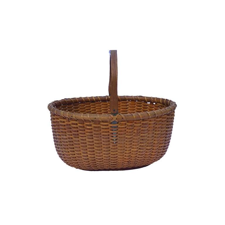 Folk Art Oval Nantucket Lightship Basket For Sale