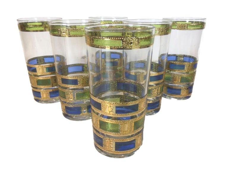American 13 Piece Vintage Culver, Empress Pattern, Ice Bowl Set, Inc. 6 Rocks, 6 Highball For Sale