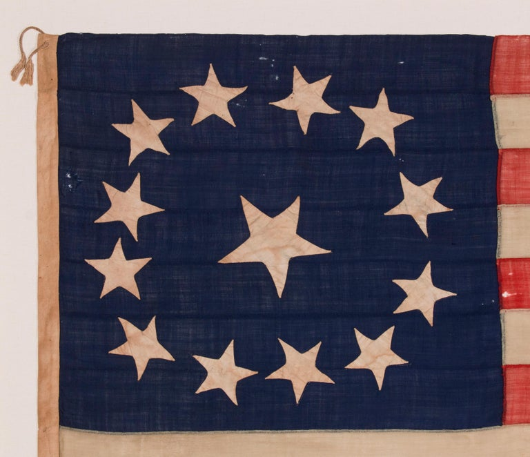 13 Star, 3rd MD Pattern, Hand-Sewn Antique American Flag, Civil War Era, 1861-65 In Good Condition For Sale In York County, PA