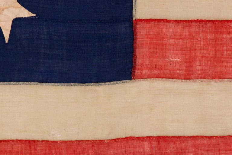 Mid-19th Century 13 Star, 3rd MD Pattern, Hand-Sewn Antique American Flag, Civil War Era, 1861-65 For Sale