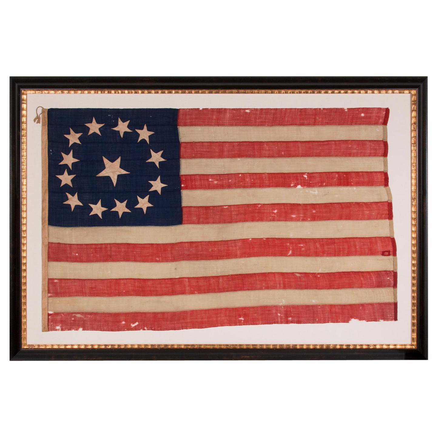 13 Star, 3rd MD Pattern, Hand-Sewn Antique American Flag, Civil War Era, 1861-65