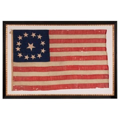 13 Star, 3rd MD Pattern, Hand-Sewn Antique American Flag, Civil War Era, 1861-65