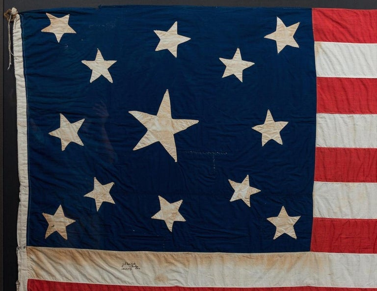13-Star American Flag, Handcut Medallion Pattern, Signed by Maker, 1884 In Good Condition For Sale In Colorado Springs, CO