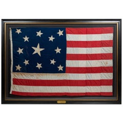 13-Star American Flag, Handcut Medallion Pattern, Signed by Maker, 1884