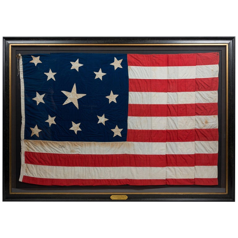 13-Star American Flag, Handcut Medallion Pattern, Signed by Maker, 1884 For Sale