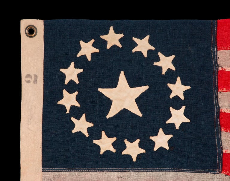 13 Star American Flag with Hand-Sewn Stars in the 3rd Maryland Pattern In Good Condition For Sale In York County, PA