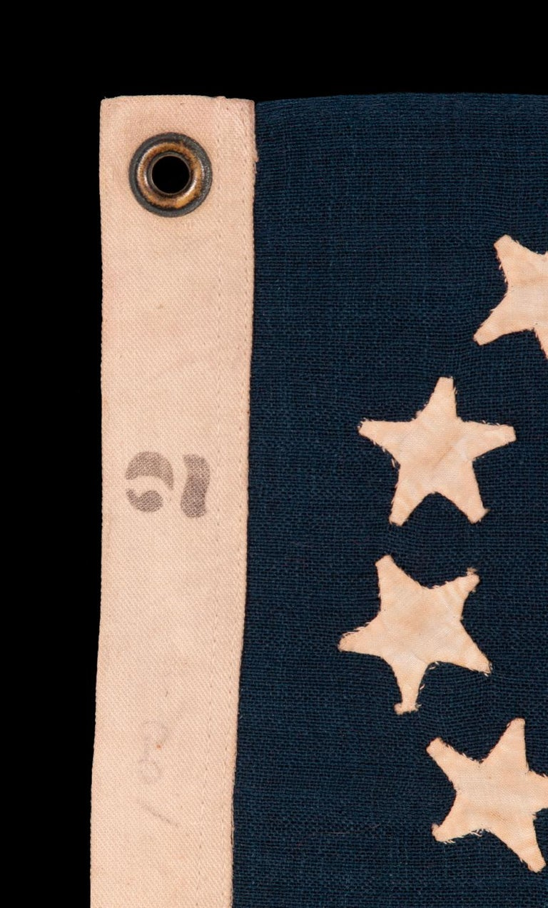 Wool 13 Star American Flag with Hand-Sewn Stars in the 3rd Maryland Pattern For Sale