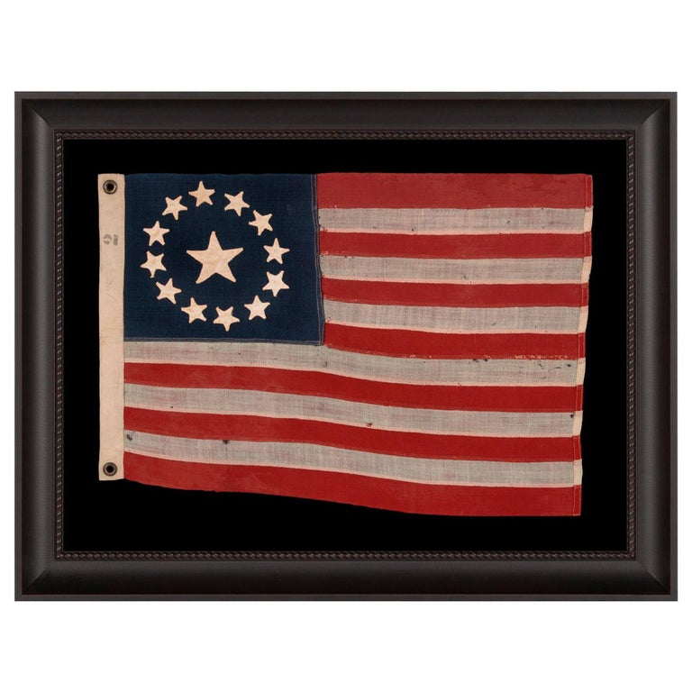 13 Star American Flag with Hand-Sewn Stars in the 3rd Maryland Pattern For Sale