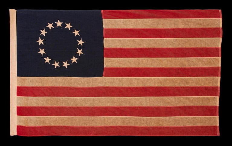 13 Stars in the Betsy Ross Pattern, a Scarce Sewn Example in a Desirable Small Scale, 1900-1930