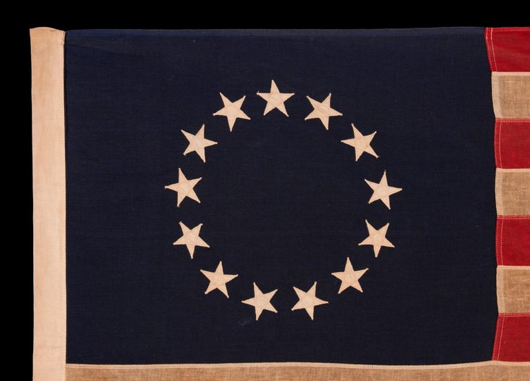 13 Star American Flag with Stars Sewn in the Betsy Ross Pattern In Good Condition For Sale In York County, PA