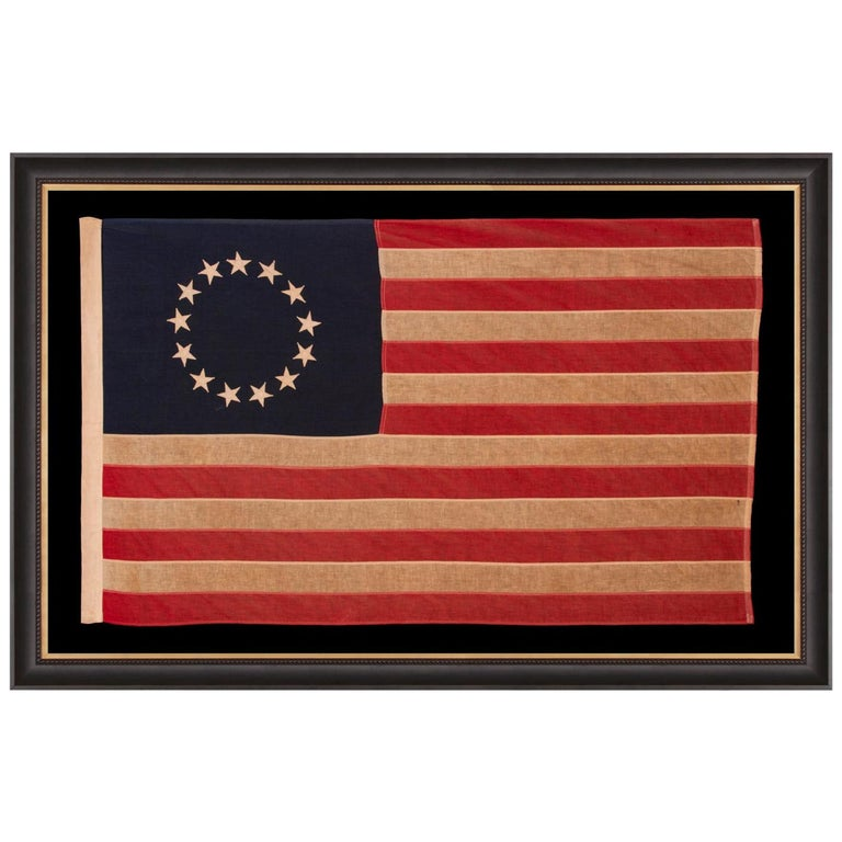 13 Star American Flag with Stars Sewn in the Betsy Ross Pattern For Sale