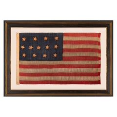 13 Star Antiques American Flag, Entirely Hand Sewn with Single Appliquéd Stars