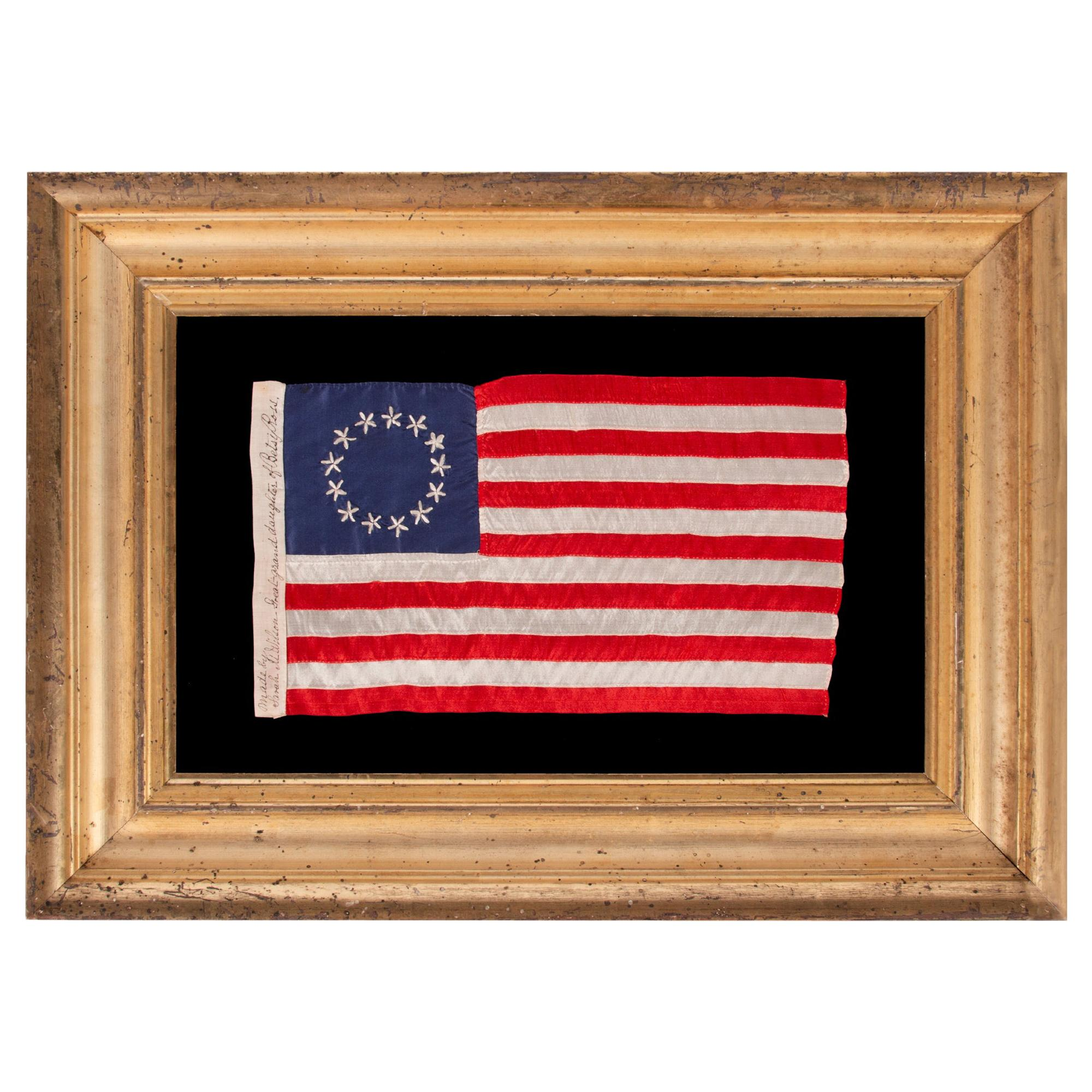 13 Star Betsy Ross Pattern Flag, Signed by Great Granddaughter Sarah Wilson
