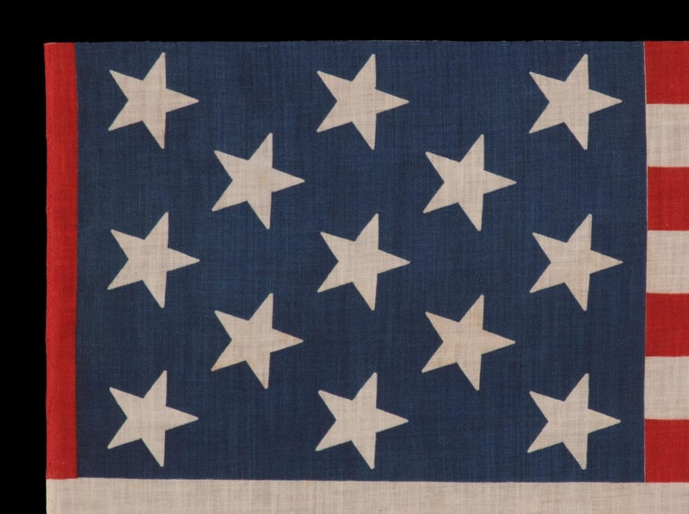 American 13 Star Parade Flag with Stars in a 3-2-3-2-3 Pattern, circa 1876-1898 For Sale