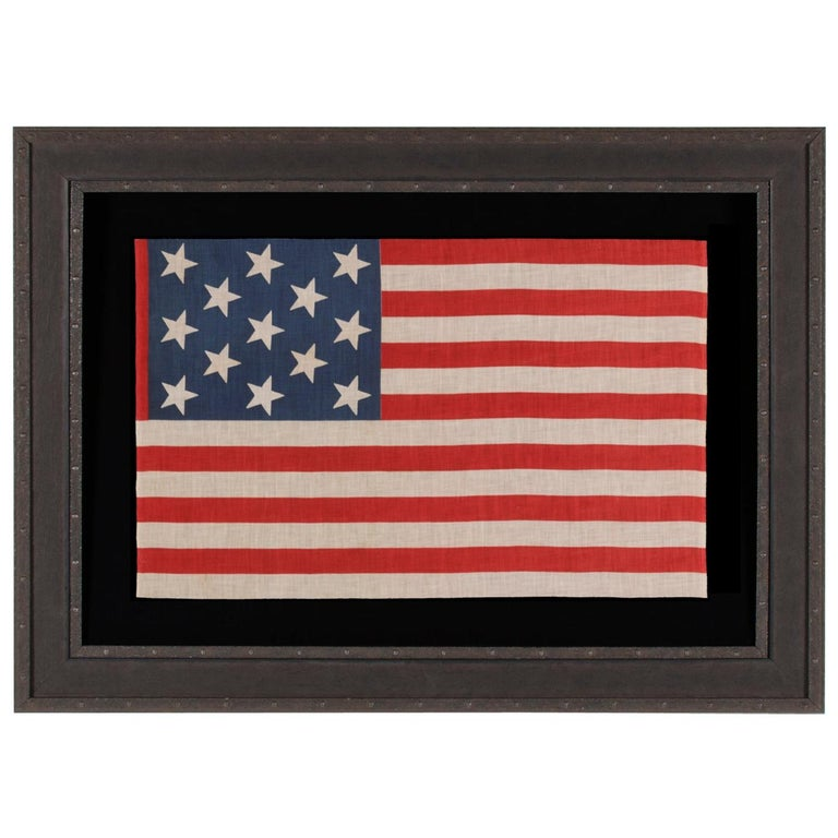13 Star Parade Flag with Stars in a 3-2-3-2-3 Pattern, circa 1876-1898 For Sale