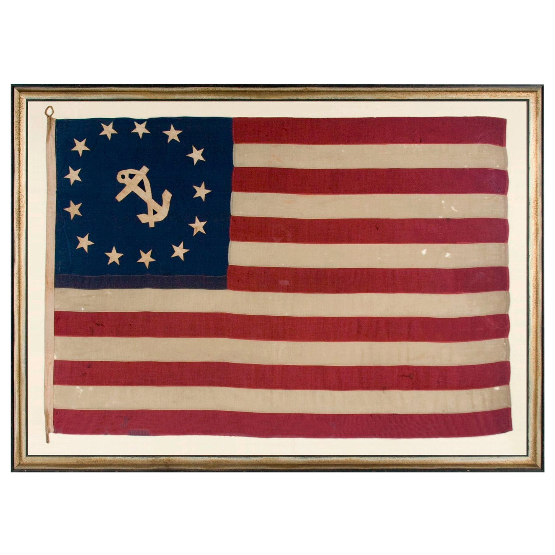 Antique American Private Yacht Flag (Ensign) w/ 13 Stars, ca 1890's