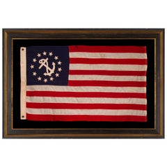 13 Star Private Yacht Flag 'Ensign' Surrounding a Canted Anchor, circa 1905-1920