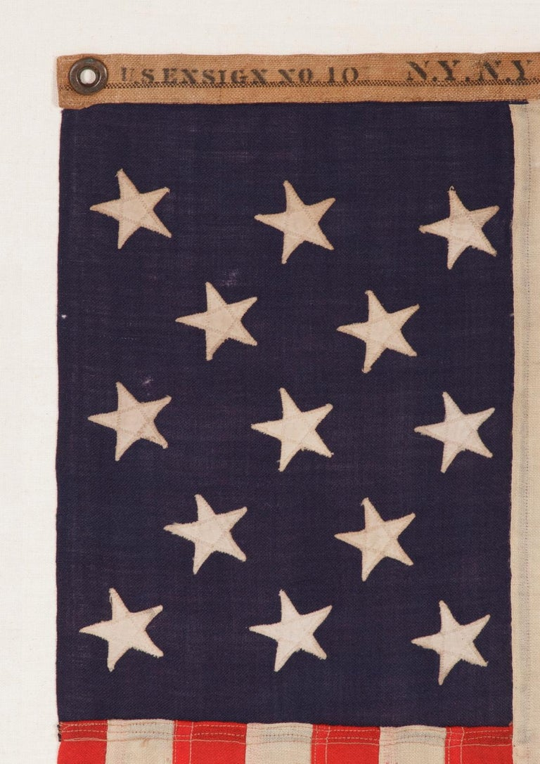 13 Stars Antique American Flag, Navy Small Boat Ensign, Signed and Dated In Good Condition For Sale In York County, PA