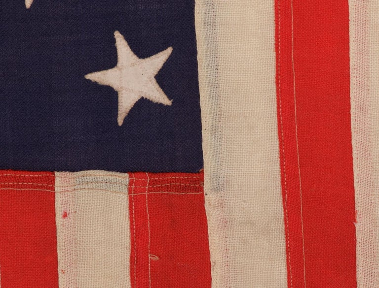Early 20th Century 13 Stars Antique American Flag, Navy Small Boat Ensign, Signed and Dated For Sale