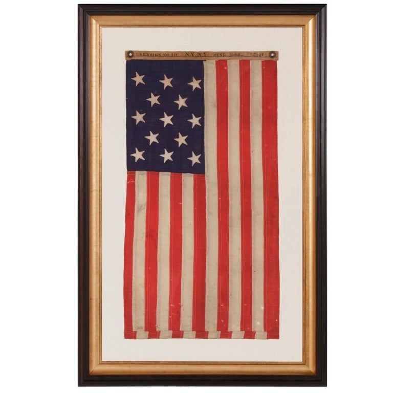 13 Stars Antique American Flag, Navy Small Boat Ensign, Signed and Dated For Sale