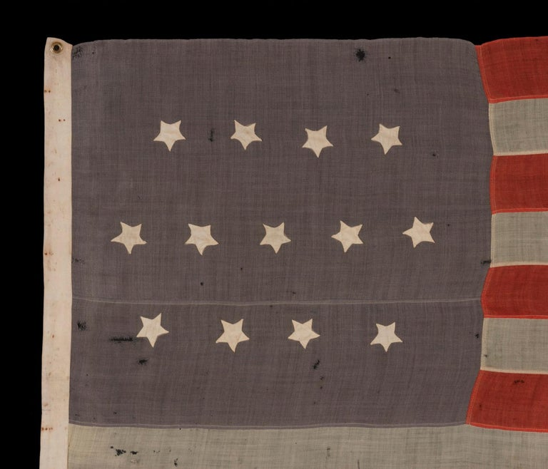 13 Stars In A 4-5-4 Pattern On Dusty Blue-grey Canton, On An Antique American Flag Made During The Last Decade Of The 19th Century, Ca 1890-1895:  13 star American national flag, made approximately at the opening of the 1890's (ca 1889-1895). The