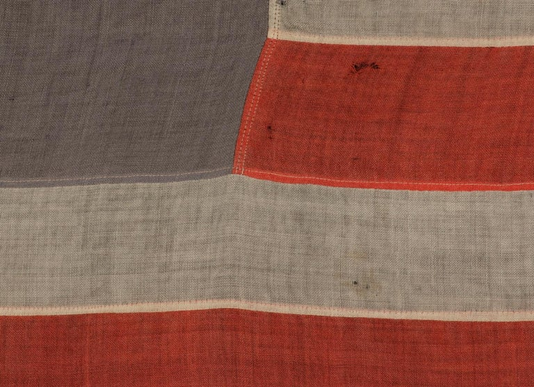 American 13 Stars in a 4-5-4 Pattern on a Dusty Blue-Grey Canton, ca 1890-1895 For Sale