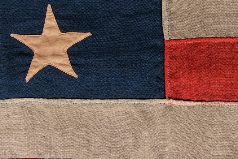 American 13 Stars In A Beautiful Medallion Configuration on a Small Scale Antique Flag For Sale