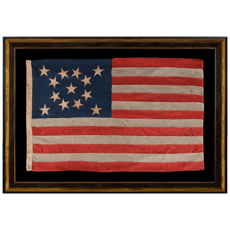 13 Stars In A Beautiful Medallion Configuration on a Small Scale Antique Flag For Sale