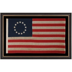 13 Stars In a Betsy Ross Pattern on a Small Scale American Flag, 1900-1930