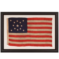 13 Stars in a Medallion Configuration on a Small Scale Antique American Flag