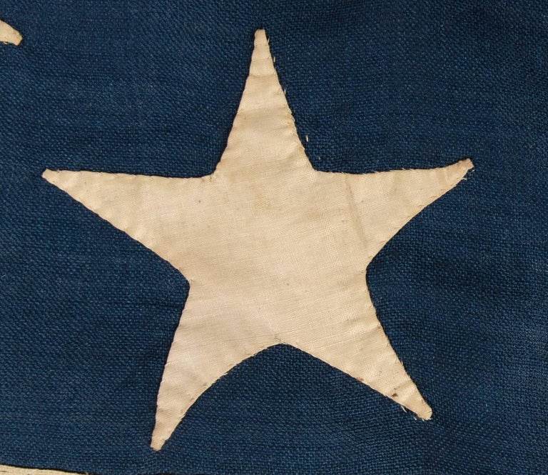 13 Stars on a U.S Navy Small Boat Ensign, Entirely Hand-Sewn In Good Condition For Sale In York County, PA