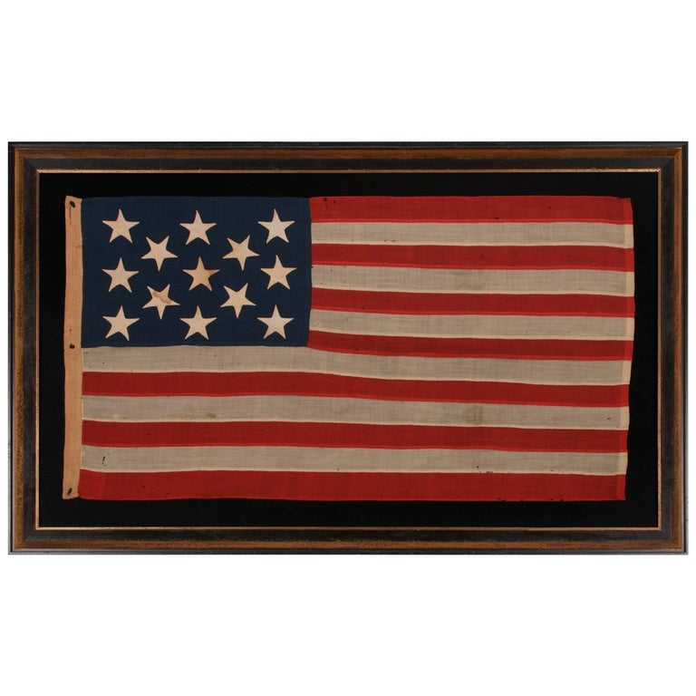 13 Stars on a U.S Navy Small Boat Ensign, Entirely Hand-Sewn For Sale