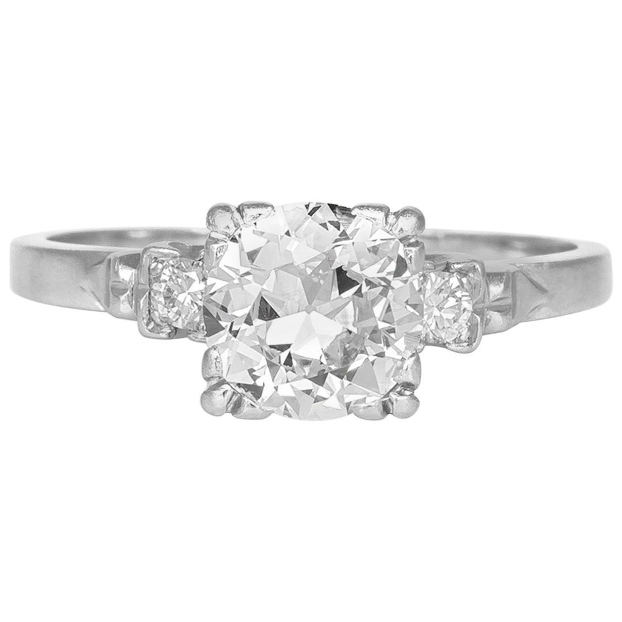 1.30 Carat 1920s-1930s Platinum Engagement Ring