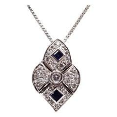 1.30 Carat Antique White Gold Necklace Diamond Sapphire Pendant