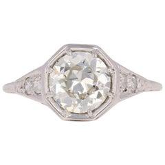 1.30 Carat Art Deco Diamond Ring, 18 Karat White Gold Vintage European