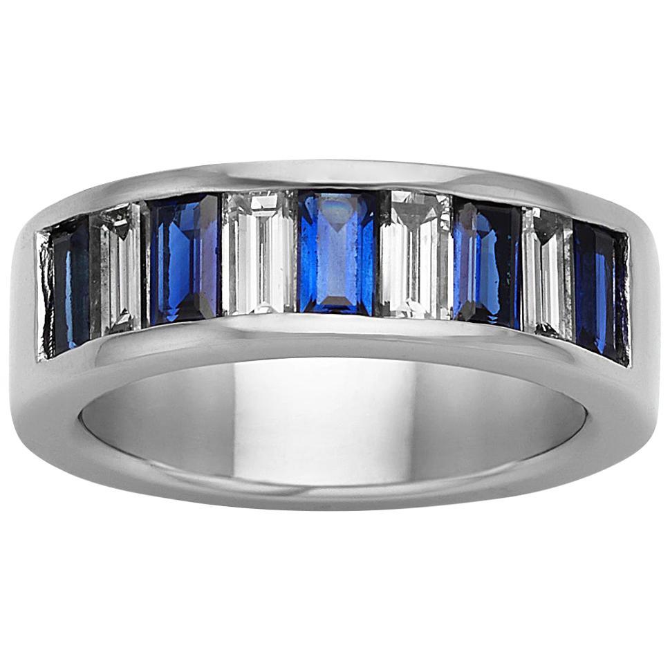 1.30 Carat Blue Sapphire and Diamond Platinum Band