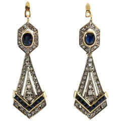 1.30 Carat Diamond 2.20 Carat Blue Sapphire Yellow Gold Lever-Back Earrings