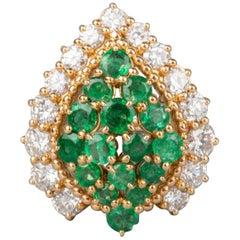 Boucheron Paris .30 Carat Diamond and 1.20 Carat Emerald Cocktail Ring