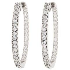 1.30 Carat Diamond Inside Out Hoop Earrings in 14 Karat Gold Eternity 1.30 Carat