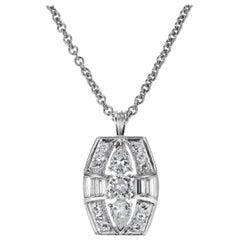 1.30 Carat Diamond Platinum Retro Style Pendant Necklace