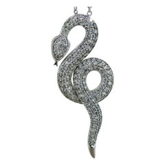 1.30 Carat Diamond Pendant, White Gold Pave Set Serpent, White Gold Chain
