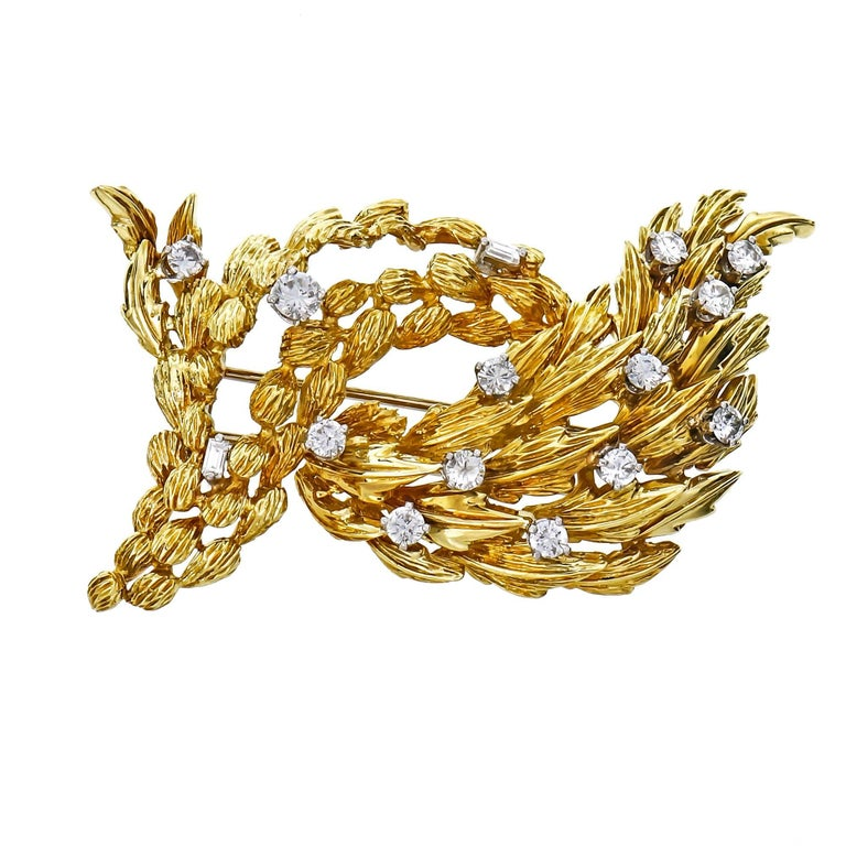 1.30 Carat Diamond Textured Gold Brooch