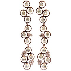 1.30 Carat Diamonds Dangle Earrings 3D Real Feel Modern Cluster Vine 14 Karat