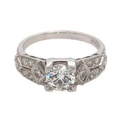1.30 Carat Edwardian Inspired Diamond Engagement Ring 18 Karat White Gold