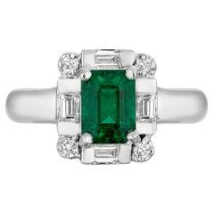 1.30 Carat Emerald Diamond Cocktail Ring