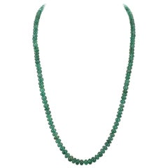 130 Carat Genuine & Natural & Fine Strand of Emerald Smooth Beads Necklace, 18K