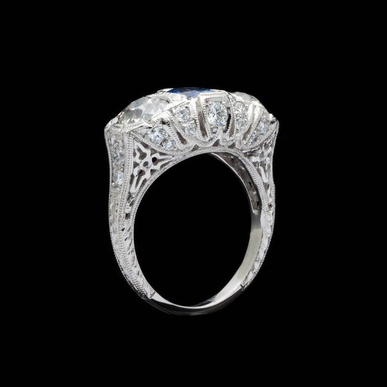 Women's 1.30 Carat GIA Certified Unheated Sapphire Diamond Platinum Ring For Sale