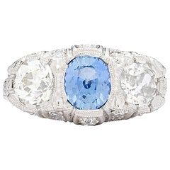 1.30 Carat GIA Certified Unheated Sapphire Diamond Platinum Ring